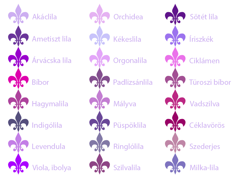 lila arnyalatok nevek